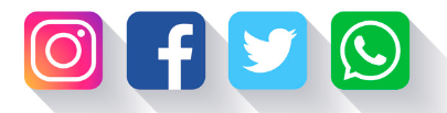 logos de redes sociales: Facebook, Twitter, Instagram, Whatsapp